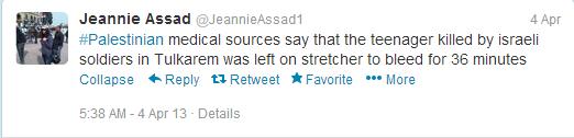 Tweet 'Palestinian med sources'