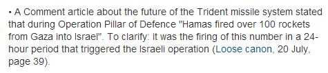 CiF Watch prompts correction to 'Comment is Free' claim on Gaza rocket attacks