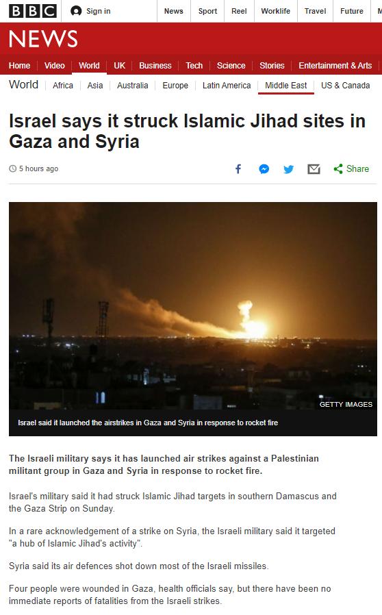 BBC News report on PIJ attacks focuses on Israel's response